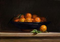 Clementines in a spanish bowl | A Still Life painting by British Artist Julian Merrow-Smith