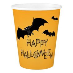 Happy Halloween Bat Paper Cups - home gifts ideas decor special unique custom individual customized individualized
