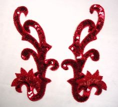 0020  Red Mirror Pair Sequin Beaded Appliques 8  by gloryshouse, $8.99