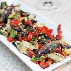 Mushroom, Artichoke and Red Pepper Salad - Vegan