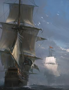 Assassin's Creed IV Black Flag Concept Art by Martin Descham.-Assassin's Creed IV Black Flag Concept Art by Martin Deschambault Moby Dick, Old Sailing Ships, Ship Paintings, Concept Art World, Pirate Life, Ship Art, Video Game Art, Tall Ships, Cool Art
