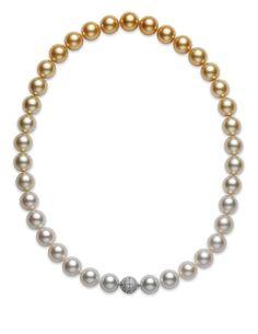 Mikimoto white and golden South Sea cultured pearl strand, mikimotoamerica.com   - TownandCountryMag.com