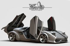 Flavio Adriani has submitted his project to us, it's his attempt to redesign the iconic Lamborghini Countach Car that combines classic design with modern Exotic Sports Cars, Cool Sports Cars, Sport Cars, Exotic Cars, Cool Cars, Lamborghini Cars, Lamborghini Gallardo, Lamborghini Concept, Jaguar Xk