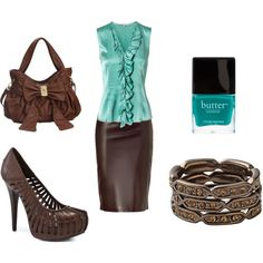 Chocolate & Aqua - for my brown pleather skirt