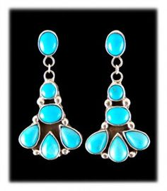 Sterling Silver Earrings With Sleeping Beauty Turquoise Dillon Hartman Native American