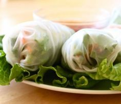 Veggie rolls - mmm. The sauce looks like a good substitute for the usual heavier peanut sauce.