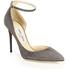 Jimmy Choo Lucy 100 Suede Ankle-Strap Pumps (35,245 PHP) ❤ liked on Polyvore featuring shoes, pumps, apparel & accessories, ankle wrap shoes, suede pointed-toe pumps, suede pointy toe pumps, pointy-toe pumps and ankle tie shoes
