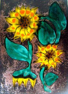 60er-70er RUSCHA Keramik Bild Kachel SUNFLOWER Ceramic Wall Plaque Pottery 70s