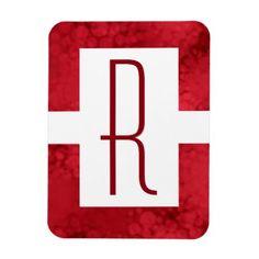 #initial - #Monogram Red Speckled Magnet