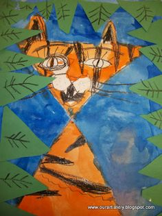 'I started out with the students making a giant X in black crayon on the paper. We went from there filling in facial features, stripes, and watercolor painting the background.'