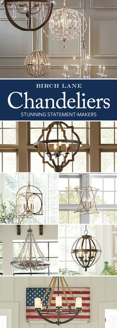 Shimmering, elegant, and bright, the right chandelier adds some much-needed drama to your space. Whether your style skews traditional or has a more rough-around-the-edges farmhouse feel, Birch Lane's selection of chandeliers has an option for you. Farmhouse Lighting, Farmhouse Decor, Farmhouse Style, Farmhouse Chandelier, Country Style, Home Renovation, Home Remodeling, Interior Design Minimalist, Minimalist Bedroom