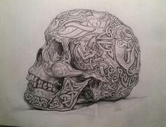 Celtic Skull pencil drawing
