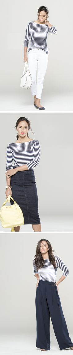 to wear the striped top. With your favourite white denims for the classic french flair. With a denim pencil skirt always a classic. How Coco did it best, with wide leg pants. Walk The Line, Denim Pencil Skirt, 50 Fashion, White Denim, Wide Leg Pants, Art Direction, That Look, French, Stylists