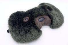 Sleep mask. Eye mask. Dark brown bear in faux fur. Fluffy bear mask.Teddy bear. Luxury fur eye mask. Travel mask, black-out mask. by lemonyjen on Etsy