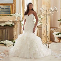 Robe DE married sirene style 2016 cherie applique beads organza DE married FG47 mermaid back strap wedding dress