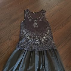 Sundance top with beaded embroidery Sheer elegant beaded embroidered midnight gray camisole by Sundance. It's super boho chick top that can upgrade any plain outfit. Will go great with flair gray skirt like in the pic or black pencil skirt. In perfect condition, like new. Sundance  Tops Camisoles