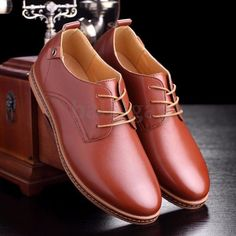 Men Business Casual Leather Shoes Flat Oxfords Loafer Lace Up Multi Size Fashion