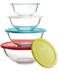 Pyrex 8-Piece Mixing Bowl Set with Colored Lids - Bakeware - Kitchen - Macy's Bridal and Wedding Registry