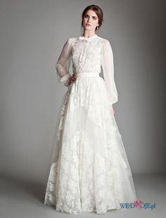 biała suknia ślubna Temperley z koszulową górą