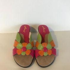 6ee90793e0b29 Annie Ladies Sandals Shoes Size 7 Multi Color Orange Green and Pink   fashion  clothing