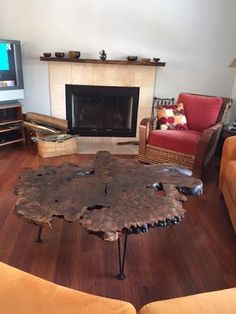 Custom Walnut Burl coffee table with pin metal legs Reclaimed Wood Mantel, Wood Mantels, Fireplace Mantels, Rustic Wood, Walnut Burl, Wood Accents, Wood Table, Beams, Your Design
