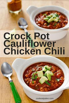 This chili recipe has a not-so-secret ingredient -- cauliflower -- standing in for the beans. Crock pot cauliflower chicken chili is an easy paleo dinner. Just dump everything in the slow cooker and let it cook all day.