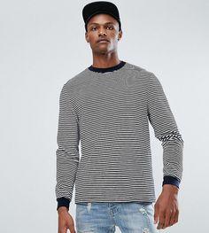 ASOS TALL Relaxed Long Sleeve T-Shirt In Velour Stripe - Navy