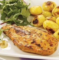 Solid all-white chicken breasts have been perfectly marinated for you, just heat straight from freezer over medium heat for approximately 15 minutes on each side, or until done. Meat Shop, Food Retail, Good Food, Yummy Food, Salmon Patties, Alfredo Recipe, Chicken Alfredo, Garlic Chicken, Chicken Breasts