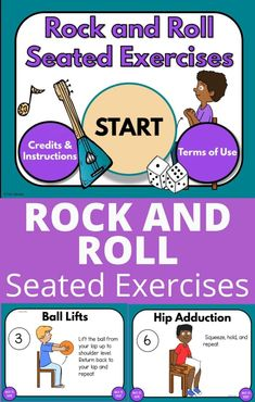 These seated exercises are perfect for brain breaks, Physical Therapy, Occupational Therapy, Physical education and more! This digital exercise game is perfect to use in the special education room as well. Your students will roll a rice and get a fun exercise to do, continue and do all the exercises! It's so much fun and your students will love the rock & roll theme! Great for preschool & elementary school as well as at home!