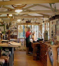 Luthier, Marc Maingard, in his studio in South Africa