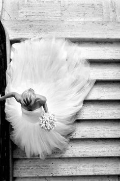 Wedding gown. Black and white photograph.