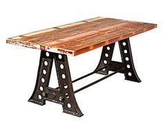 Tavolo in legno massello effetto etnico vintage - 180x75x90 cm