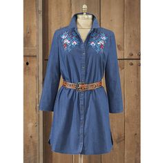 Scully Rose Embroidered Denim Tunic Dress - Cowgirl Delight Denim Tunic, Scully, Western Dresses, Accent Colors, Lace Dress, Shirt Dress, Rose, Long Sleeve, Sleeves