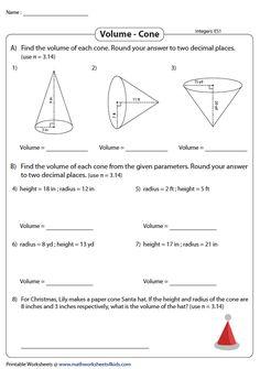 Volume of Cones   Integers - Easy Integers, Word Problems, Homeschooling, Geometry, Worksheets, Teacher, Easy, Teachers, Professor