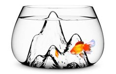 Goldfish bowl with blown-glass mountains