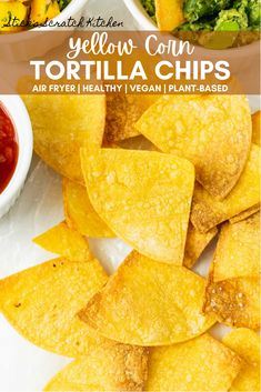 Making your own tortilla chips has never been easier! We make these Air Fryer Yellow Corn Tortilla Chips weekly (if not daily!). This recipe only takes 3 ingredients and less than 15 minutes to bring together. Plus, using your air fryer means easier clean up and a healthier snack! Quick. Clean. Crispy. #tortillachips #airfryer #airfryerchips #healthysnacks Gluten Free Tortillas, Corn Tortillas, Vegetarian Breakfast Recipes, Snack Recipes, Healthy Snacks, Healthy Eating, Healthy Recipes, Yellow Corn, Air Fryer Healthy