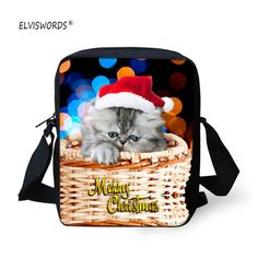 137f03a66dd5 ELVISWORDS Mini Cat Schoolbag 3d Cute Animals Printing Messenger Bags  Crossbody Bag Kids Waterproof Shoulder Bag