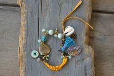 Gypsy Hippie boho Beach Aquamarine bracelet Evil by BeadStonenSkin