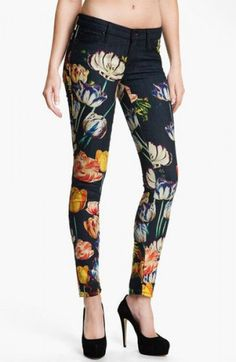 Mother The Looker Print Skinny Jeans in Kissed Me Floral
