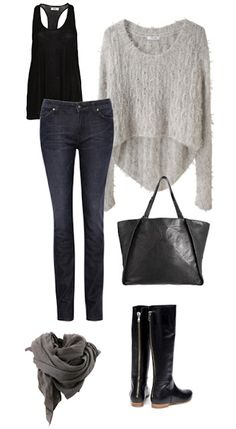cute and casual :) looking effortlessly chic in classic dark wash skinny jeans, leather boots, black tank, over sized comfy sweater, and a neutral scarf. PERFECT for any season just update colors and get rid of sweater for summer/fall.