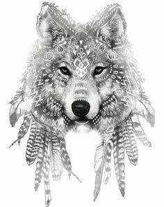 noch ein märchengafter wolf mit vogelfedern eine tolle idee für einen tattoo wolf