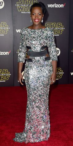 Lupita Nyong'o - Star Wars: The Force Awakens Premiere 2015 in Alexandre Vauthier Haute Couture