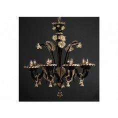 Lustre baroque noir et or en verre soufflé de Murano