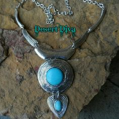 """Teardrop Statement Necklace Faux turquoise, Silvertone Chunky Necklace. 23"""" w/3"""" extender Southwest, Western, Cowgirl, Boho Boutique Jewelry Necklaces"""