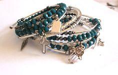 Good luck arm candy beaded bangle bracelets set by AmorPorteno