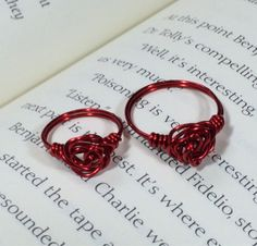 Mom and daughter red rose knot ring set by OnTheWireByMaryJane, $15.00