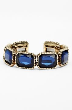On trend for fall - Sparkly deep blue stone cuff.