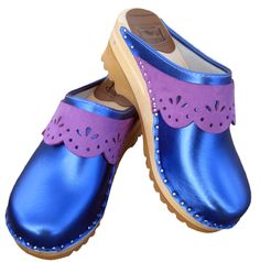 Troentorp Blue & Purple Mettalic Clogs for Aunt Sophia
