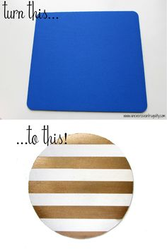 DIY Gold Striped Mouse Pad Tutorial - An Exercise In Frugality