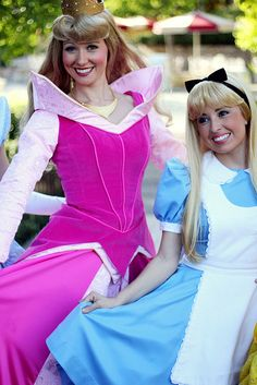 Princess Aurora from Sleeping Beauty and Alice from Alice in Wonderland